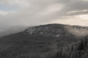 Untereck/Grat in Dunst und erstem Schnee