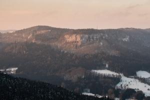 Albtrauf (Gräbelesberg) im ersten Morgenlicht